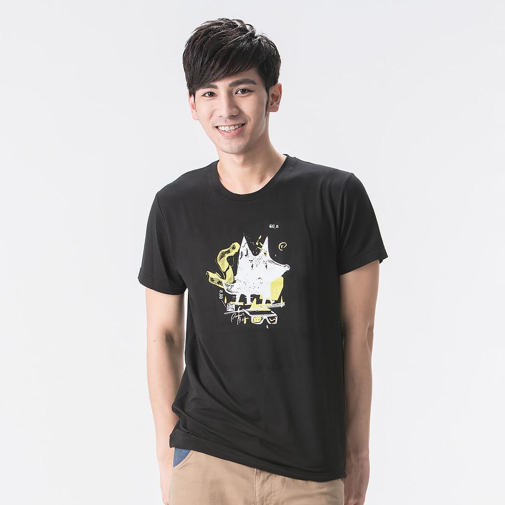 【SNOWFOX 雪狐】男款防曬透氣吸濕排汗短袖聯名圖T恤AT-81630黑