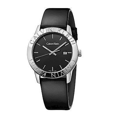 CK  CALVIN KLEIN Steady 凝視系列時尚黑面手錶-38mm