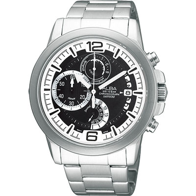 ALBA ACTIVE 街頭時尚計時腕錶(AS6061X)-黑/44mm