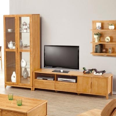 Bernice-布朗8.7尺實木L型電視櫃組合-260x42x185cm