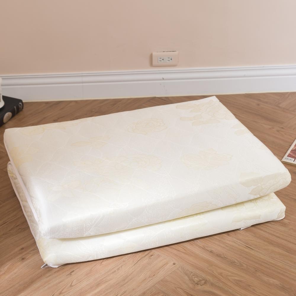 eyah宜雅 台灣製可折疊專利三折獨立筒記憶床墊-單人加大3.5尺米黃緹花