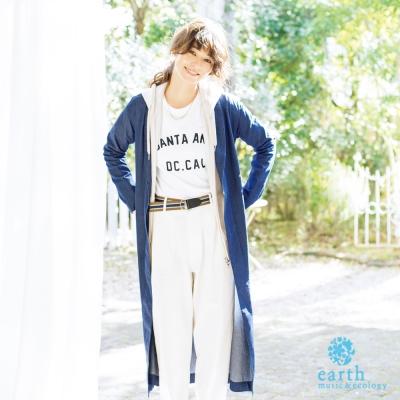 earth music&ecology 七分袖字母落肩T恤