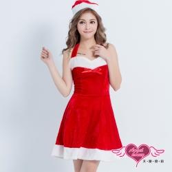 耶誕服 搖滾風潮 聖誕舞會角色扮演露肩連身裙(紅F)  AngelHoney天使霓裳