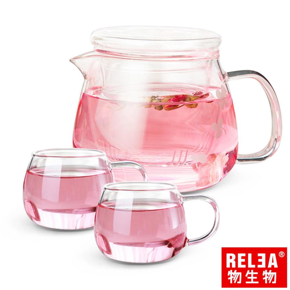 RELEA 物生物 小花耐熱玻璃泡茶壺500ml (一壺二杯套裝組)