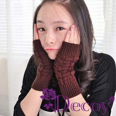 Decoy-麻花編織-毛線露指手套-三色可選