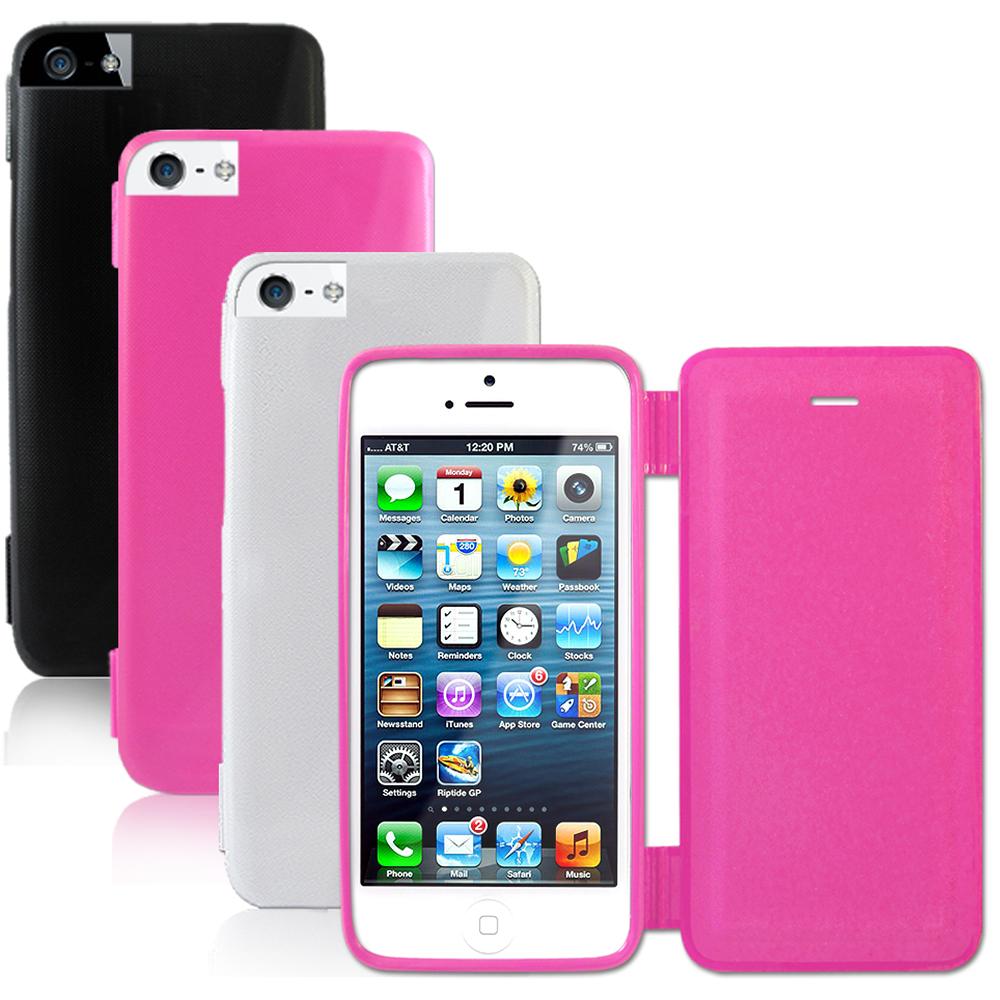 iPhone5/5S 玻纖紋TPU軟式 側掀皮套