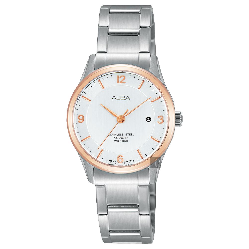 ALBA 時尚東京石英女錶(AH7M20X1)-銀x玫塊金框/28mm