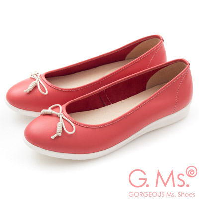 G.Ms. MIT系列-羊皮線圈綁繩蝴蝶結包鞋-馬卡紅