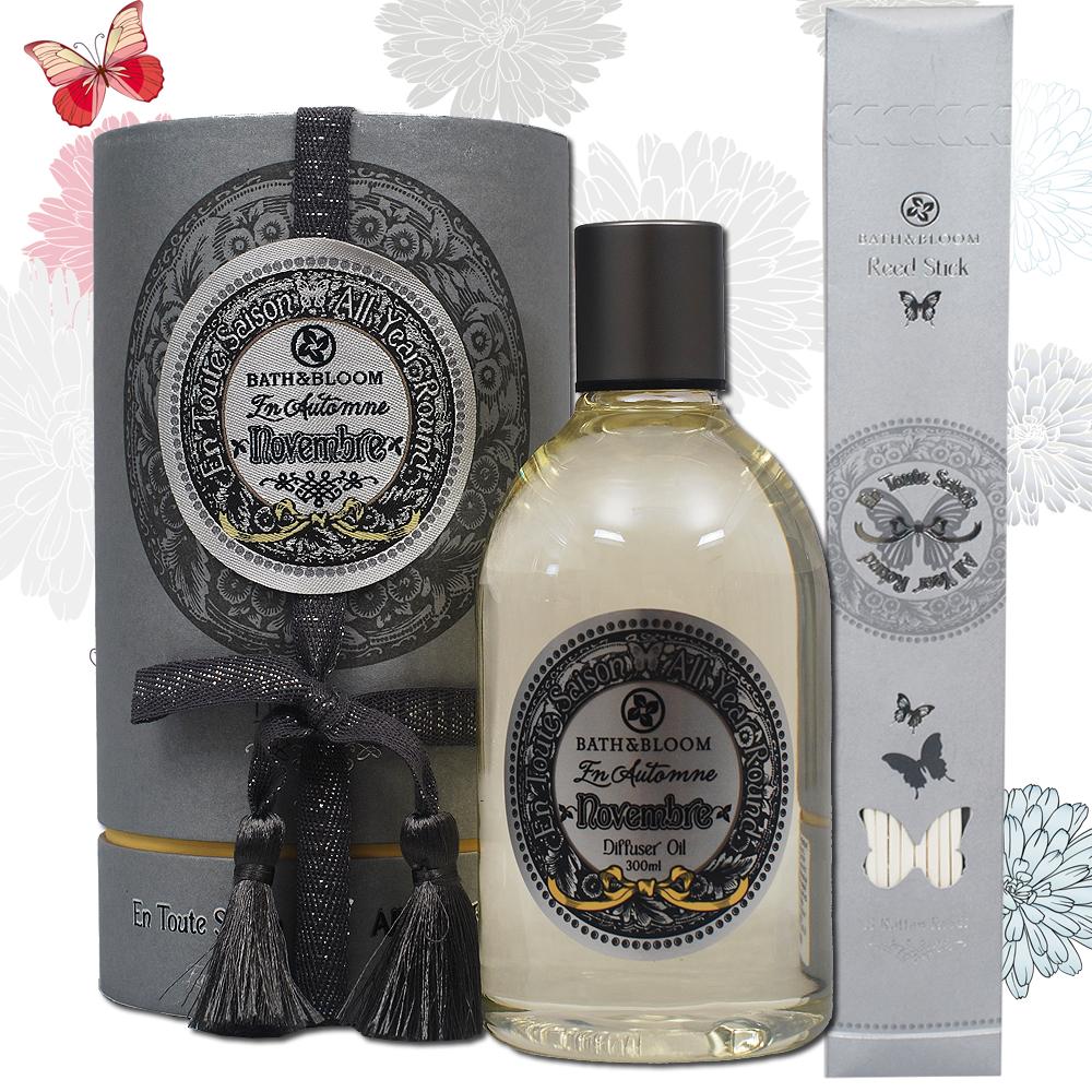 Bath & Bloom 蝶舞四季繽紛擴香精300ML-11月木質琥珀
