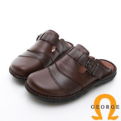 GEORGE 喬治-休憩系列 真皮寬楦涼鞋拖鞋-咖