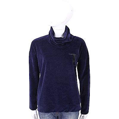 TRUSSARDI 深藍色亮片LOGO高領法蘭絨長袖上衣