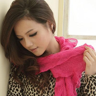 【I-shi】暖呼呼~波浪疊層厚款圍巾(桃紅)