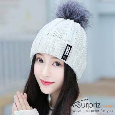 A-Surpriz 徽章B混金蔥毛球針織帽(白)