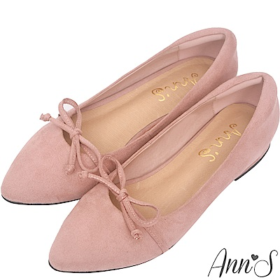 Ann'S瑪莉珍-蝴蝶結加寬楦舒適尖頭平底鞋-粉