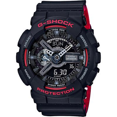 CASIO卡西歐 G-SHOCK 人氣經典紅黑雙顯手錶-55mm