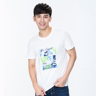 【ATUNAS 歐都納】竹節棉吸濕透氣排汗男款圓領短袖T恤 A1-T1706M  白