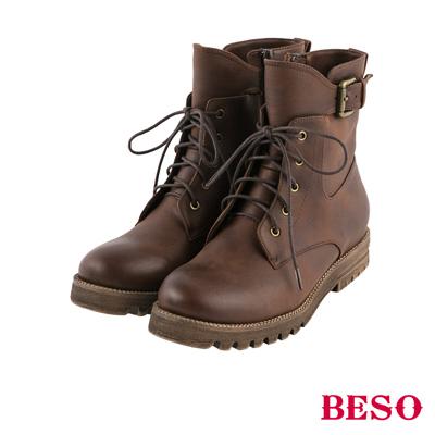 BESO 街頭率性 復古刷色輕量馬汀綁帶靴~咖啡