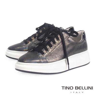 Tino Bellini 美式街頭厚底綁帶休閒鞋_炫光灰