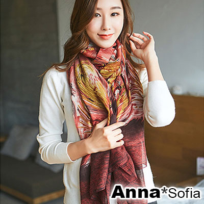 AnnaSofia 絲羽璇暈染 拷克邊韓國棉圍巾披肩(紅系)
