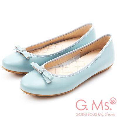 G.Ms. MIT系列-牛皮鑽釦皮帶蝴蝶結娃娃鞋-淺藍