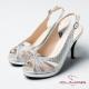 CUMAR魅力透視 鑲鑽鏤空高跟涼鞋-銀