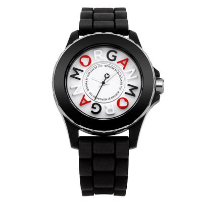 MORGAN 活潑跳躍雙層時尚腕錶-黑/40mm