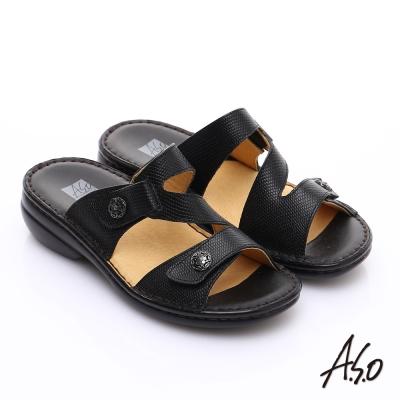 A.S.O手縫氣墊系列  全真皮3E寬楦魔鬼粘涼拖鞋 黑