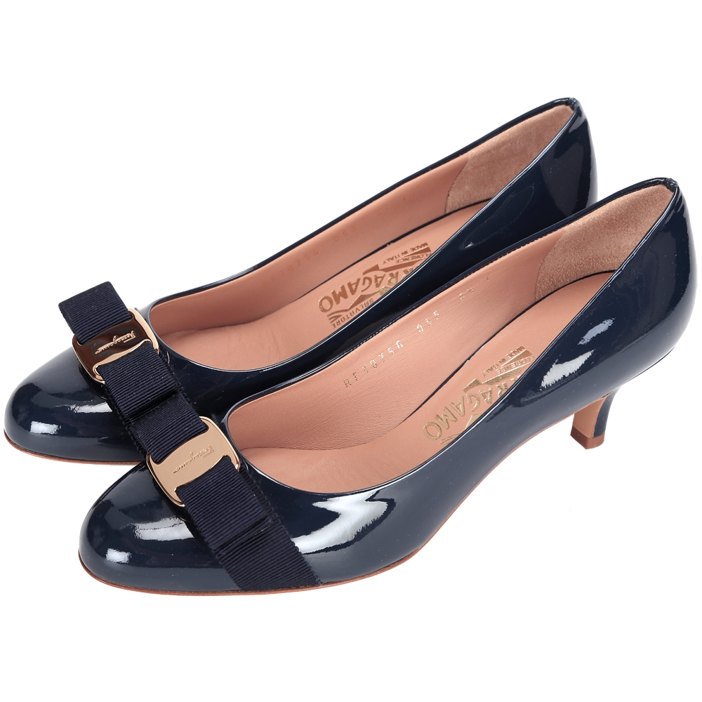 Salvatore Ferragamo CARLA 漆皮蝴蝶結飾高跟鞋(深藍色)