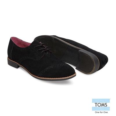 TOMS 麂皮牛津鞋-女款(黑)