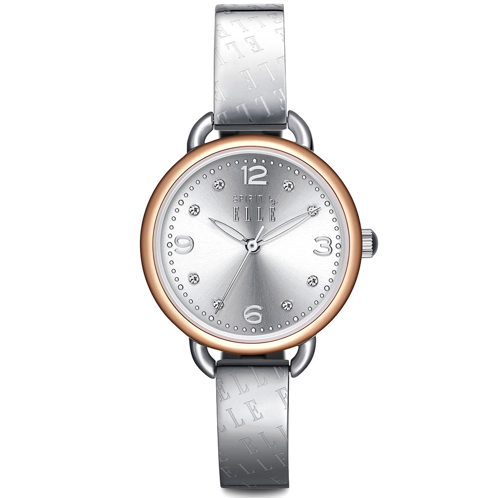 ELLE 鏤空指針不繡鋼時尚腕錶-銀x金/30mm