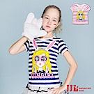 JJLKIDS 搖滾女孩寬條紋棉質短袖T恤(2色)