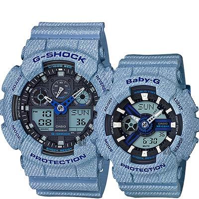 CASIO卡西歐 限量丹寧情侶對錶-淺藍/55+46.3mm