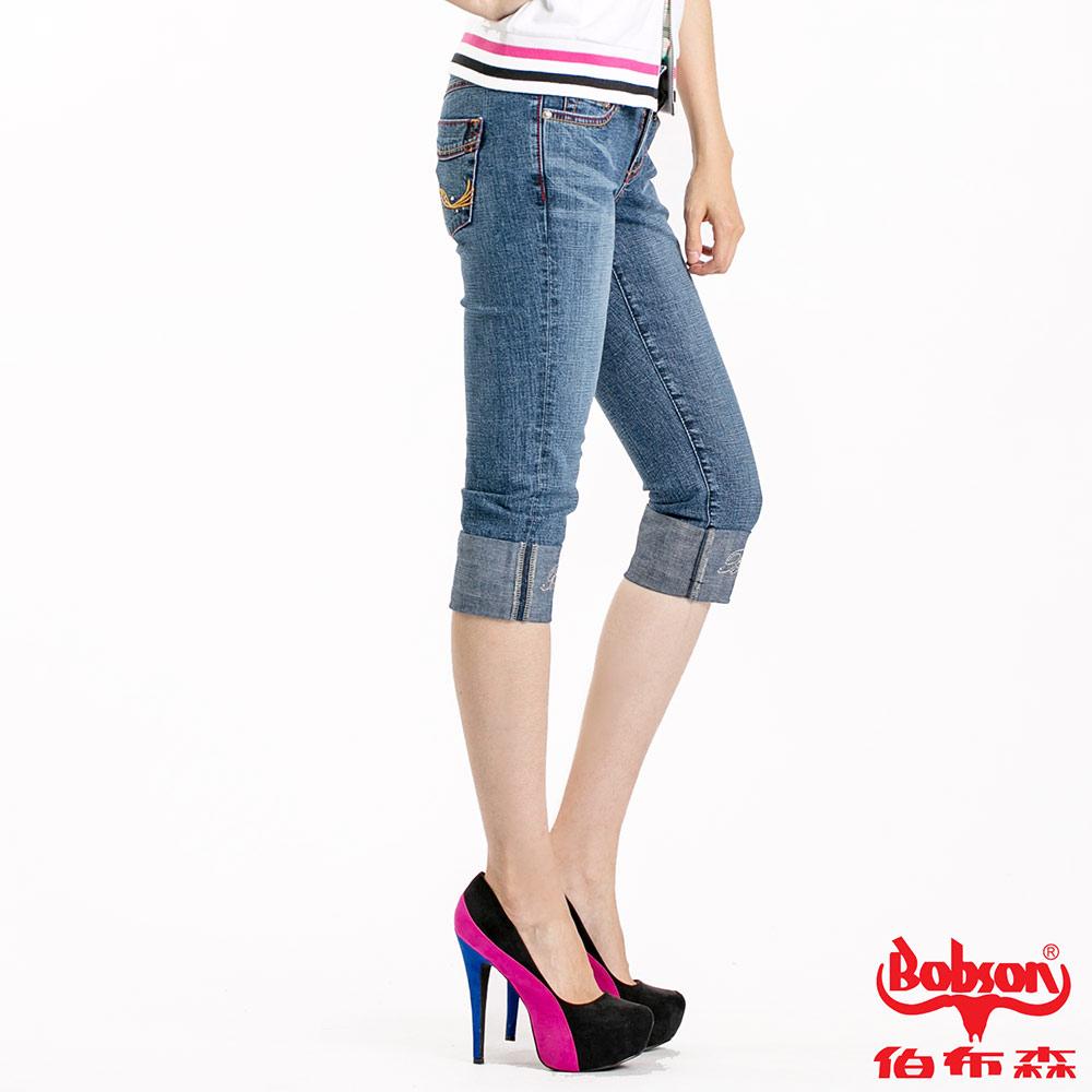 【BOBSON】女款雙色配線反摺7分褲(藍53)