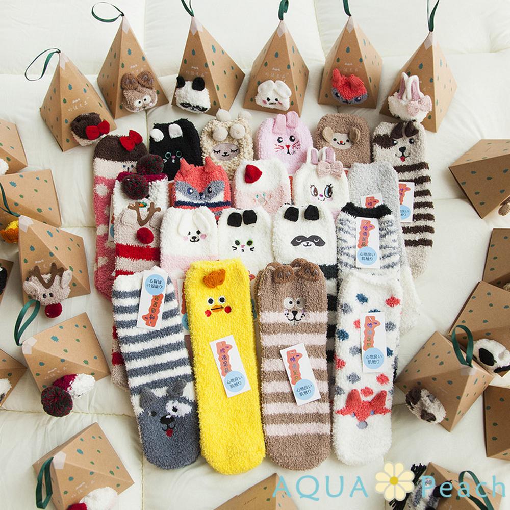 AQUA Peach-刺繡卡通居家珊瑚絨襪子聖誕襪1款二入