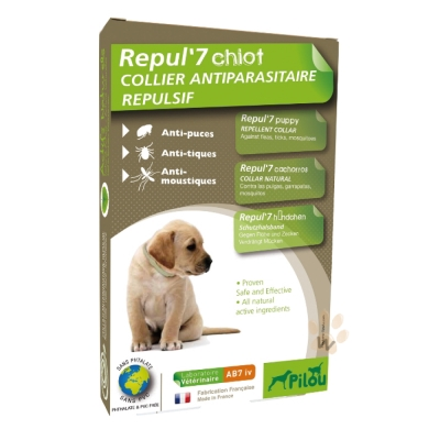 法國皮樂Pilou 狗用天然防蚤蝨防水項圈 幼犬/小型犬用