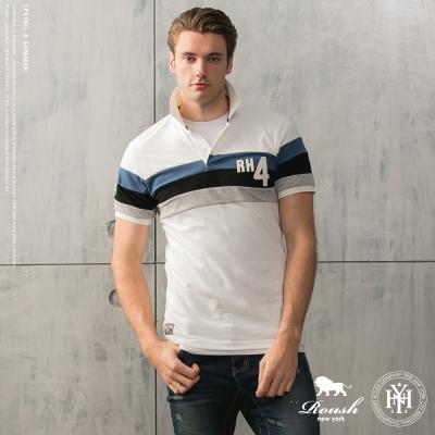 ROUSH RH4貼布剪接設計短袖polo衫 - (4色)