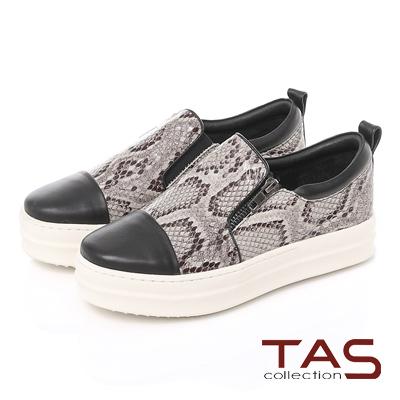TAS-異材質拼接馬毛厚底懶人鞋-蛇紋灰