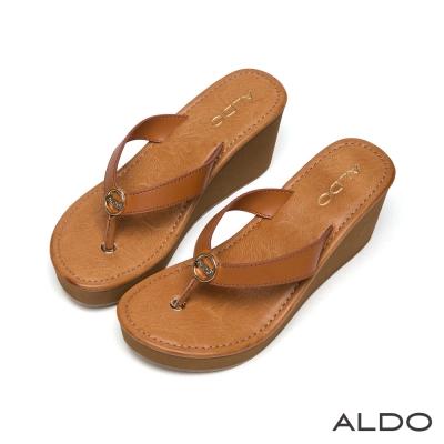 ALDO-金屬環Y字繫帶LOGO厚底夾腳涼鞋-駝色