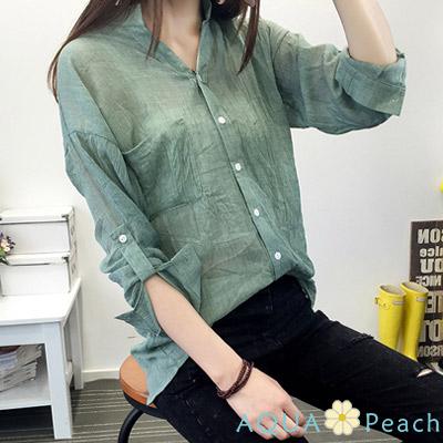小清新七分袖棉麻襯衫 (共三色)-AQUA Peach