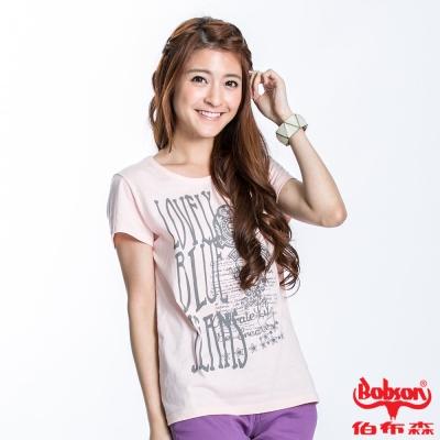 BOBSON 女款印圖短袖上衣(淺粉紅22135-10)