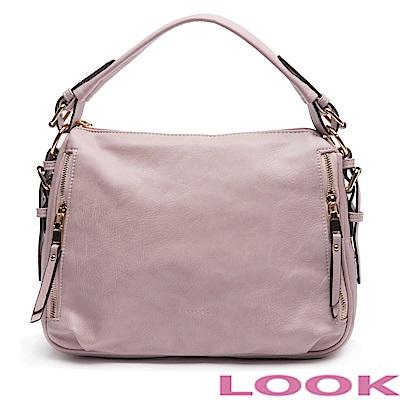 LOOK- Daisy黛西- 皮帶扣手提包-甜蜜粉