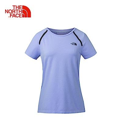 The North Face北面女款藍色休閒短袖T恤