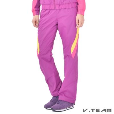 V.TEAM-多色拼接風衣長褲-女-靚紫紅