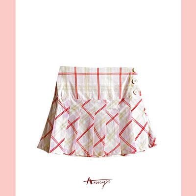 經典格紋百摺側釦短裙*1181粉