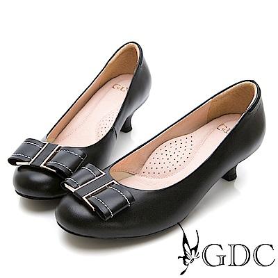 GDC-真皮典雅氣質金邊蝴蝶結圓頭低跟鞋-黑色