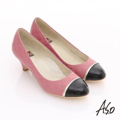 A.S.O 舒活寬楦 全真皮菱格紋拼接材質中跟鞋 粉紅
