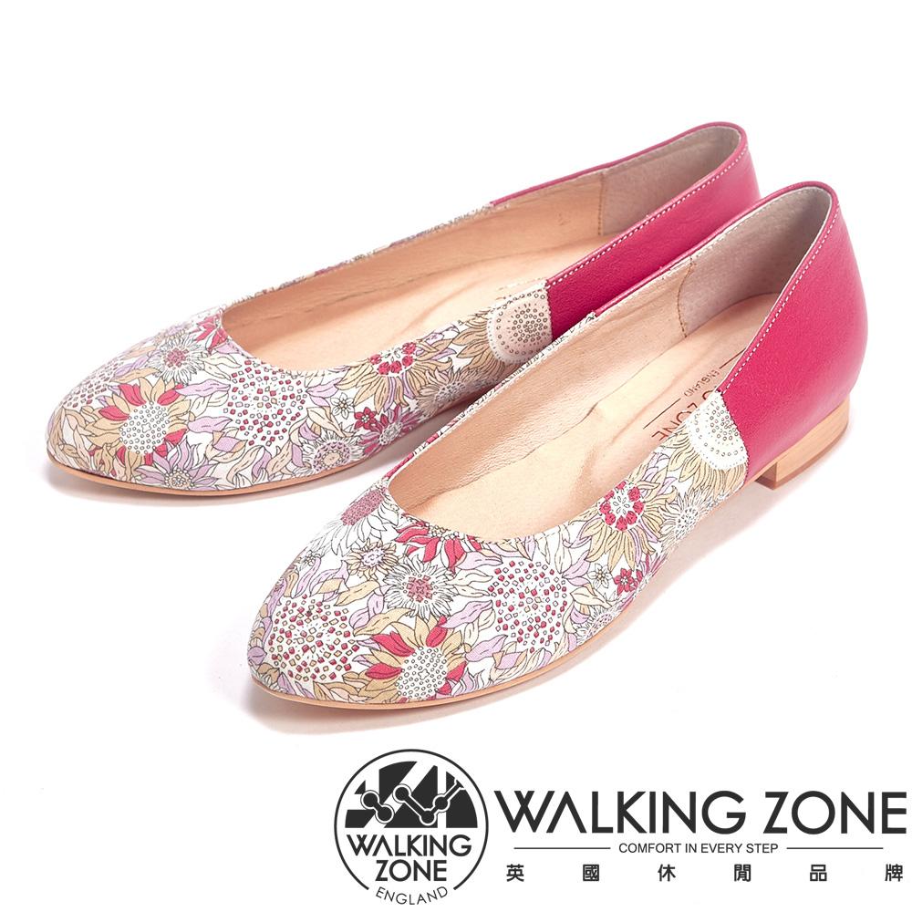 WALKING ZONE 印花皮革低跟休閒女鞋-紅