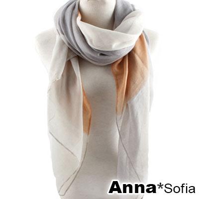 【2件450】AnnaSofia 紛彩拼色 巴黎紗披肩圍巾(灰米桔系)