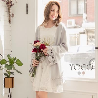 東京著衣-yoco 慵懶美人蕾絲拼接開襟外套-S.M.L(共二色)