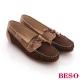 BESO 美式休閒 撞色牛仔布手縫莫卡辛鞋